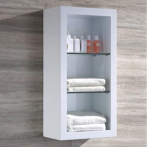 Fresca Allier White Bathroom Linen Side Cabinet w/ 2 Glass Shelves