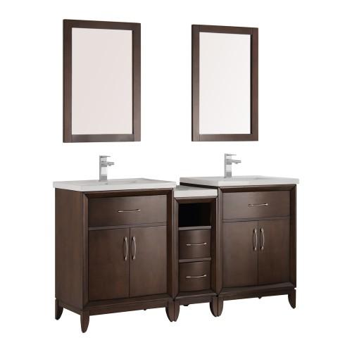 "Fresca Cambridge 60"" Antique Coffee Double Sink Traditional Bathroom Vanity w/ Mirrors"