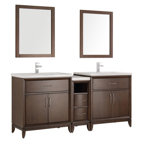 "Fresca Cambridge 72"" Antique Coffee Double Sink Traditional Bathroom Vanity w/ Mirrors"