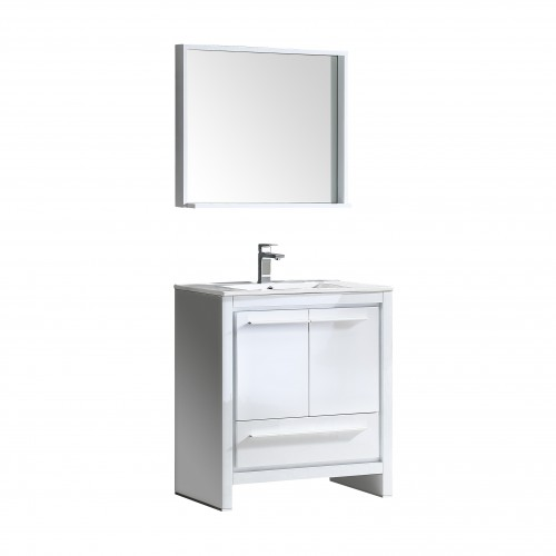 "Fresca Allier 30"" White Modern Bathroom Vanity w/ Mirror"