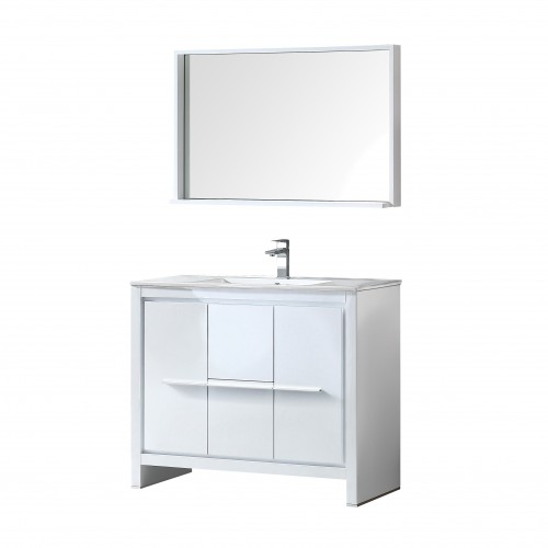 "Fresca Allier 40"" White Modern Bathroom Vanity w/ Mirror"