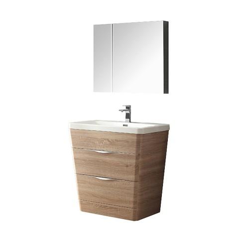 "Fresca Milano 32"" White Oak Modern Bathroom Vanity w/ Medicine Cabinet"