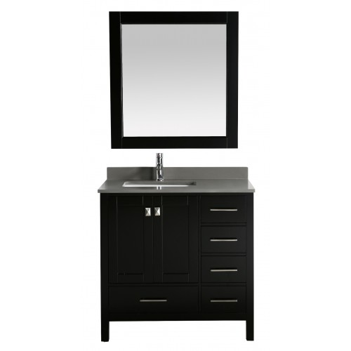 """London 36"""" Vanity in Espresso with Quartz Vanity Top in Gray with White Basin and Mirror"""