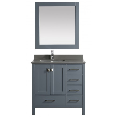 """London 36"""" Vanity in Gray with Quartz Vanity Top in Gray with White Basin and Mirror"""