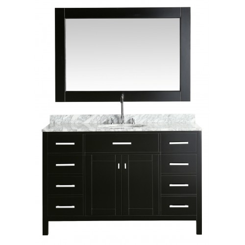 """London 54"""" Single Sink Vanity Set in Espresso with White Carrera Marble Top"""