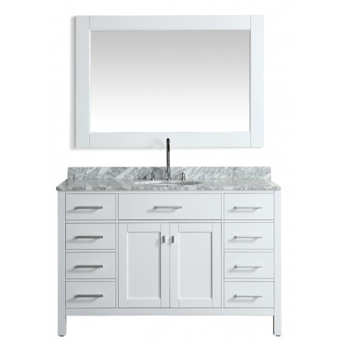 """London 54"""" Single Sink Vanity Set in White with White Carrera Marble Top"""
