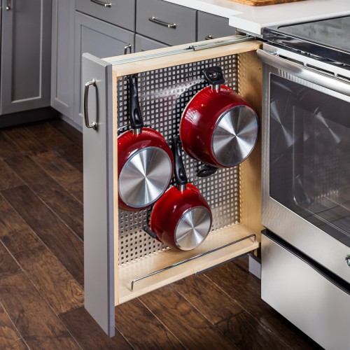 """6"""" Base cabinet  filler with pegboard organizer"""