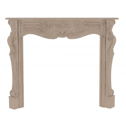 """58"""" Deauville Unfinished Wood mantel. Unfinished. Available in 30 Fruitwood finish at additional cost. Paint and stain grade."""