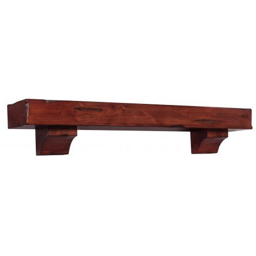 "72"" Shenandoah Cherry Rustic Distressed Wood Shelf."