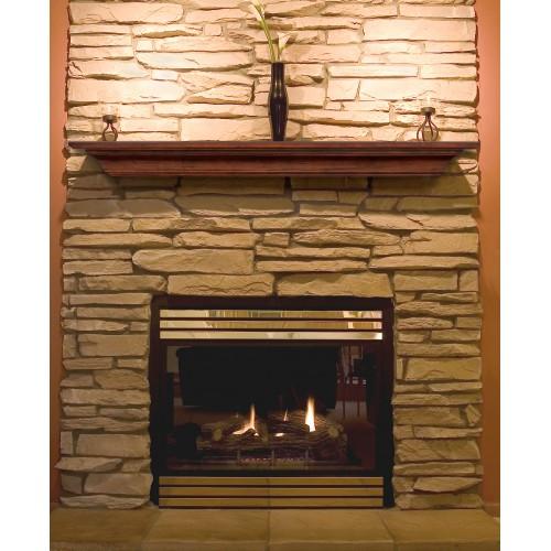"60"" Homestead Antique Finish Wood Shelf."