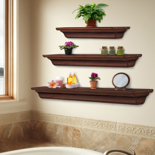 "72"" Homestead Antique Finish Wood Shelf."