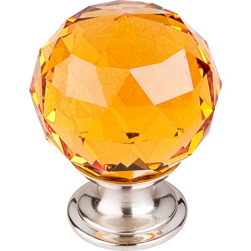 """Amber Crystal Knob 1 3/8"""" w/ Brushed Satin Nickel Base"""