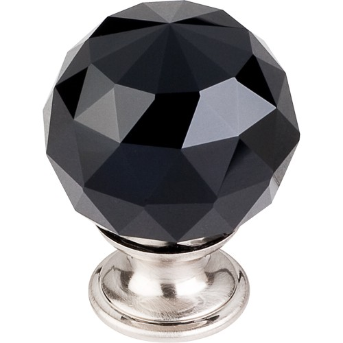 "Black Crystal Knob 1 3/8"" w/ Brushed Satin Nickel Base"