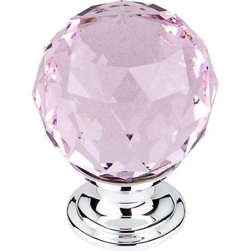 """Pink Crystal Knob 1 3/8"""" w/ Polished Chrome Base"""