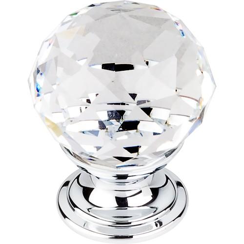 """Clear Crystal Knob 1 1/8"""" w/ Polished Chrome Base"""