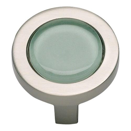Spa Green Round Knob - Brushed Nickel