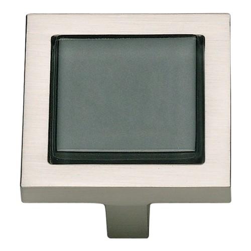 Spa Black SquareKnob - Brushed Nickel