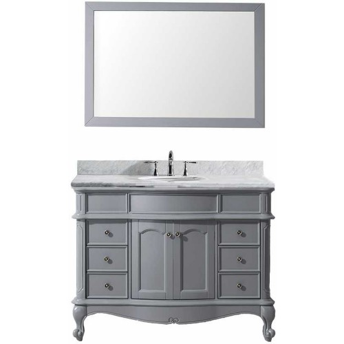 "Norhaven 48"" Single Bathroom Vanity in Grey with Marble Top and Round Sink with Mirror"