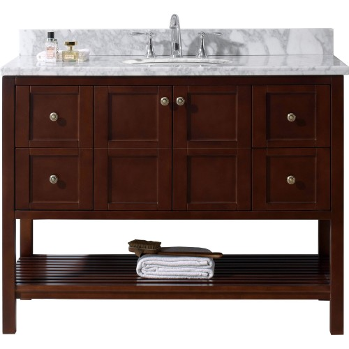 """Winterfell 48"""" Single Bathroom Vanity in Cherry with Marble Top and Round Sink"""