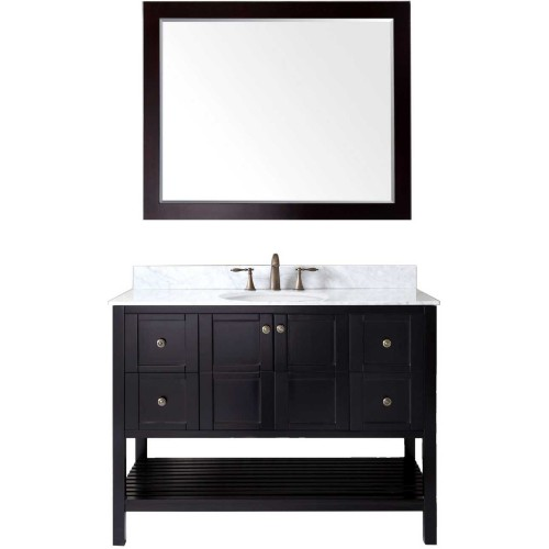 """Winterfell 48"""" Single Bathroom Vanity in Espresso with Marble Top and Round Sink with Mirror"""
