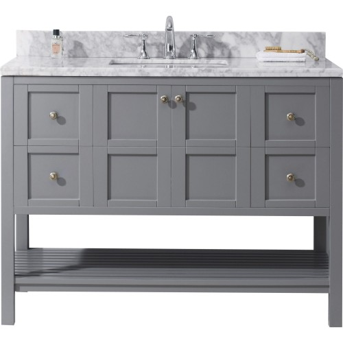 "Winterfell 48"" Single Bathroom Vanity in Grey with Marble Top and Square Sink"