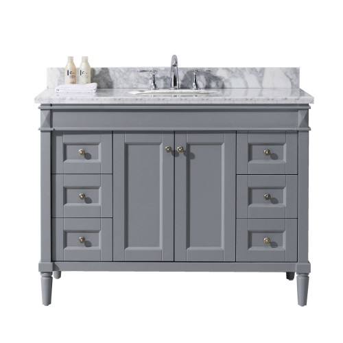 """Tiffany 48"""" Single Bathroom Vanity in Grey with Marble Top and Round Sink"""