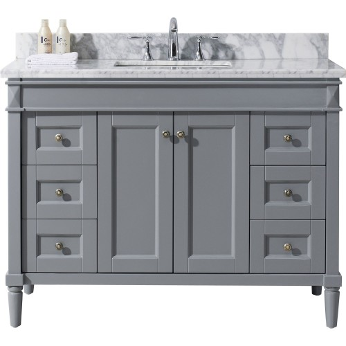 """Tiffany 48"""" Single Bathroom Vanity in Grey with Marble Top and Square Sink"""