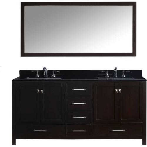 "Caroline Avenue 72"" Double Bathroom Vanity in Espresso with Black Galaxy Granite Top and Square Sink with Mirror"