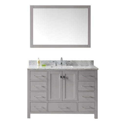 """Caroline Avenue 48"""" Single Bathroom Vanity in Cashmere Grey with Marble Top and Square Sink with Mirror"""
