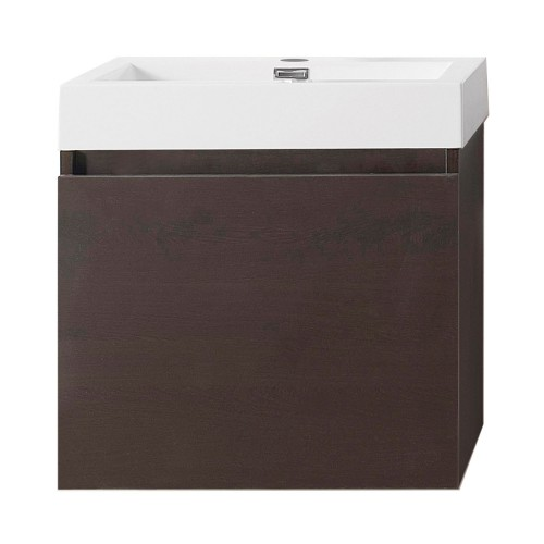 """Zuri 24"""" Single Bathroom Vanity in Wenge with White Polymarble Top and Square Sink"""