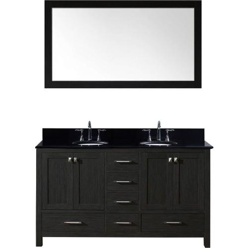 "Caroline Premium 60"" Double Bathroom Vanity in Zebra Grey with Black Galaxy Granite Top and Round Sink with Mirror"