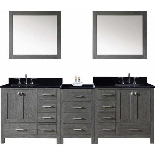 "Caroline Premium 90"" Double Bathroom Vanity in Zebra Grey with Black Galaxy Granite Top and Square Sink with Mirrors"