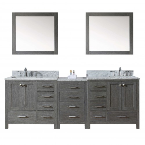 """Caroline Premium 90"""" Double Bathroom Vanity in Zebra Grey with Marble Top and Square Sink with Mirrors"""