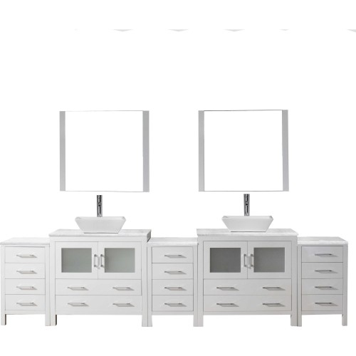 """Dior 118"""" Double Bathroom Vanity in White with Marble Top and Square Sink with Polished Chrome Faucet and Mirrors"""