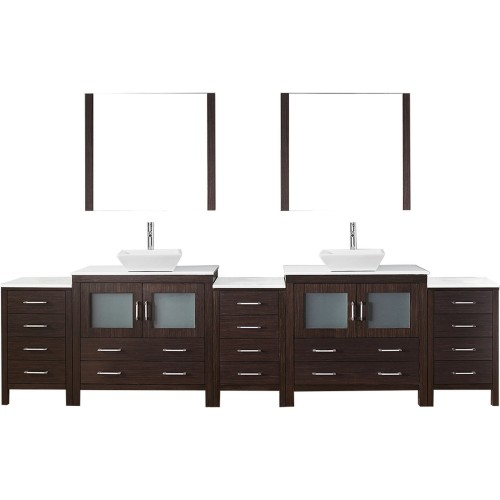 """Dior 126"""" Double Bathroom Vanity in Espresso with White Engineered Stone Top and Square Sink with Polished Chrome Faucet and Mir"""