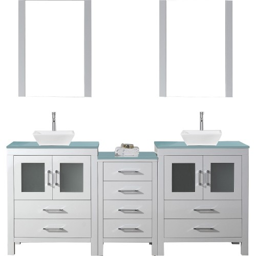 """Dior 74"""" Double Bathroom Vanity in White with Aqua Tempered Glass Top and Square Sink with Polished Chrome Faucet and Mirrors"""