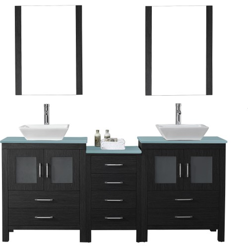 """Dior 74"""" Double Bathroom Vanity in Zebra Grey with Aqua Tempered Glass Top and Square Sink with Polished Chrome Faucet and Mirro"""