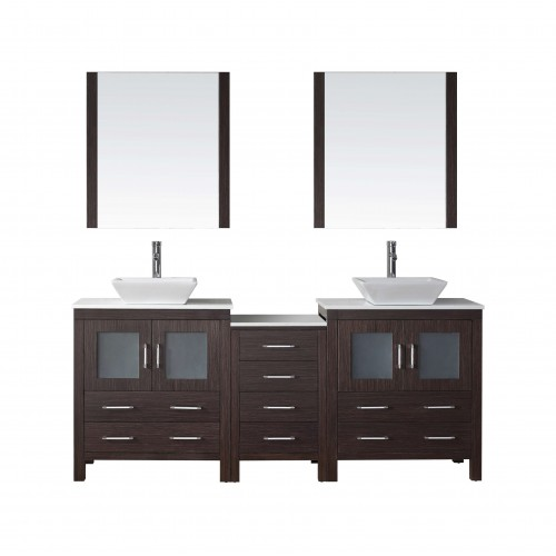 """Dior 78"""" Double Bathroom Vanity in Espresso with White Engineered Stone Top and Square Sink with Brushed Nickel Faucet and Mirro"""