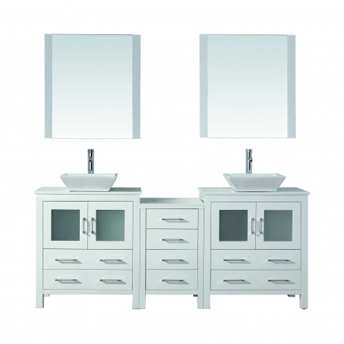 "Dior 78"" Double Bathroom Vanity in White with White Engineered Stone Top and Square Sink with Brushed Nickel Faucet and Mirrors"