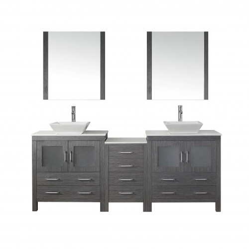 """Dior 82"""" Double Bathroom Vanity in Zebra Grey with White Engineered Stone Top and Square Sink with Brushed Nickel Faucet and Mir"""