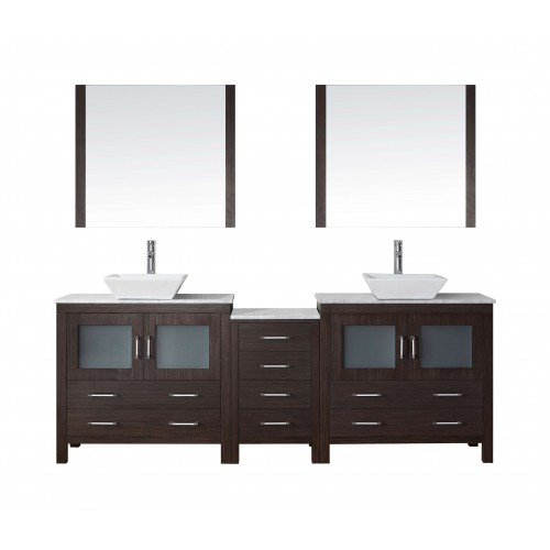 """Dior 82"""" Double Bathroom Vanity in Espresso with Marble Top and Square Sink with Brushed Nickel Faucet and Mirrors"""
