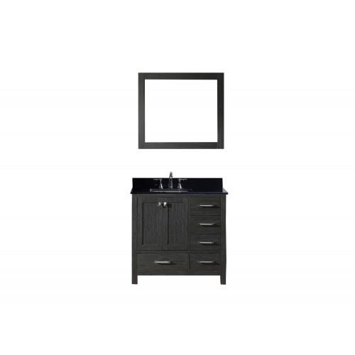 "Caroline Premium 36"" Single Bathroom Vanity in Zebra Grey with Black Galaxy Granite Top and Square Sink with Mirror"