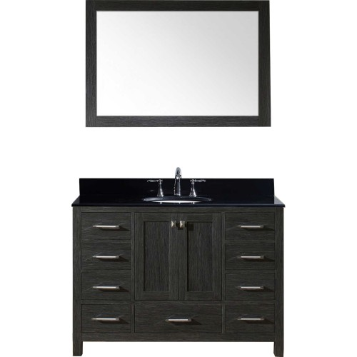 "Caroline Premium 48"" Single Bathroom Vanity in Zebra Grey with Black Galaxy Granite Top and Round Sink with Mirror"