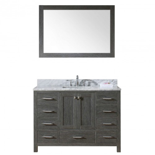 """Caroline Premium 48"""" Single Bathroom Vanity in Zebra Grey with Marble Top and Square Sink with Mirror"""