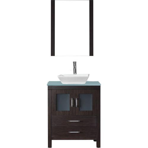 """Dior 28"""" Single Bathroom Vanity in Espresso with Aqua Tempered Glass Top and Square Sink with Polished Chrome Faucet and Mirror"""