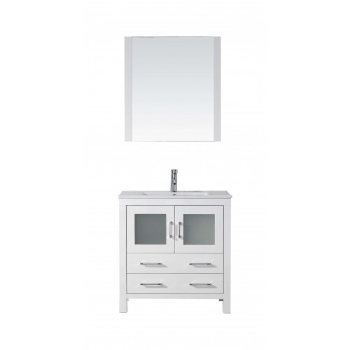 """Dior 32"""" Single Bathroom Vanity in White with Slim White Ceramic Top and Square Sink with Brushed Nickel Faucet and Mirror"""