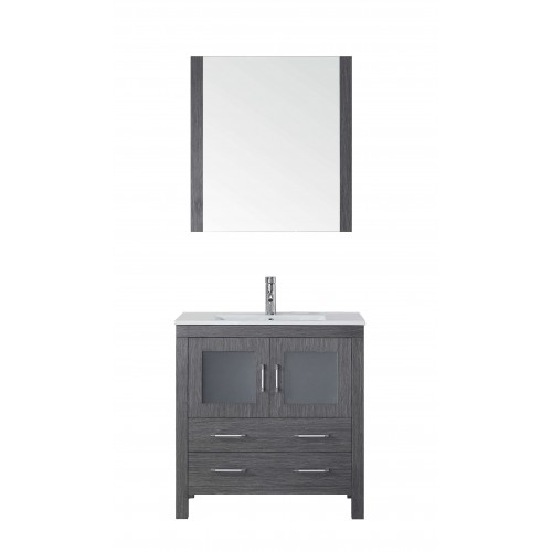 """Dior 32"""" Single Bathroom Vanity in Zebra Grey with Slim White Ceramic Top and Square Sink with Brushed Nickel Faucet and Mirror"""