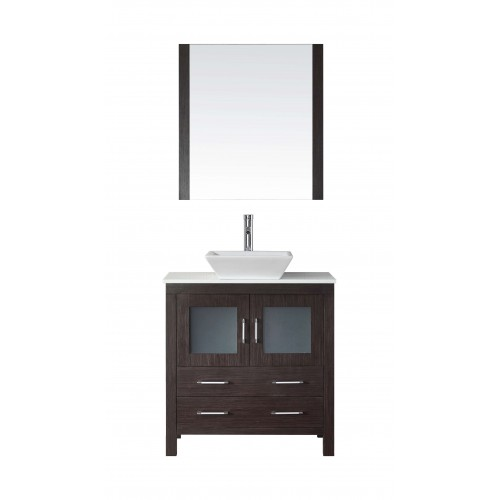 """Dior 32"""" Single Bathroom Vanity in Espresso with White Engineered Stone Top and Square Sink with Brushed Nickel Faucet and Mirro"""