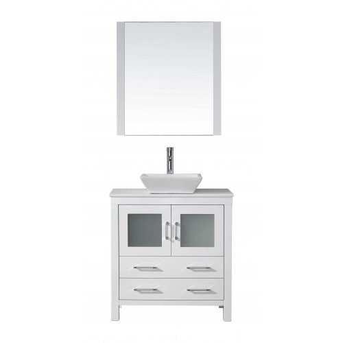 """Dior 32"""" Single Bathroom Vanity in White with White Engineered Stone Top and Square Sink with Brushed Nickel Faucet and Mirror"""