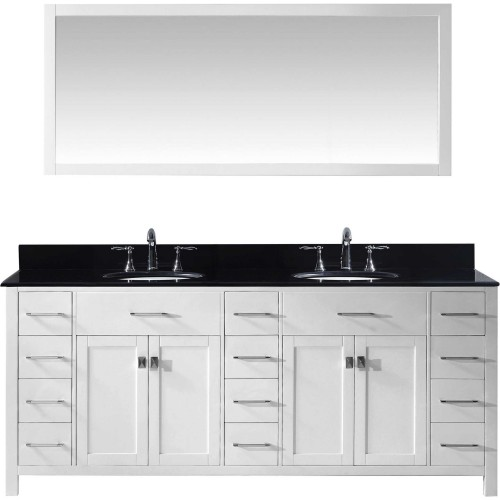 "Caroline Parkway 78"" Double Bathroom Vanity in White with Black Galaxy Granite Top and Round Sink with Mirror"